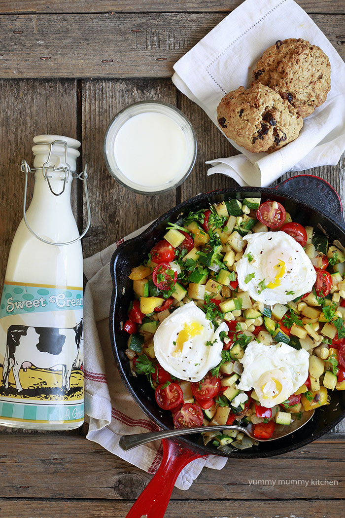 vegetable skillet hash with poached eggs