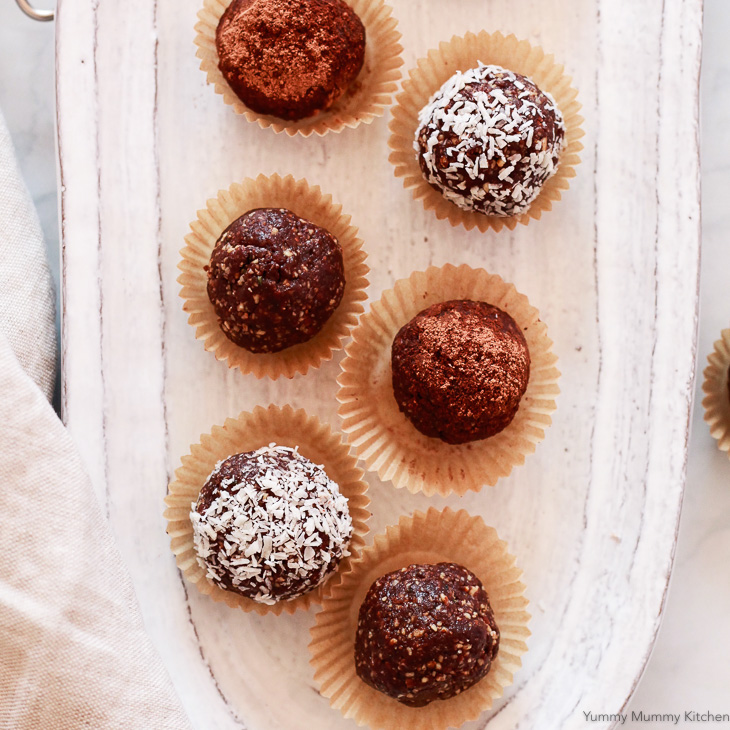 Chocolatey almond bliss ball energy bites are a delicious healthier treat. Keep them in the fridge for whenever you need a sweet little snack.