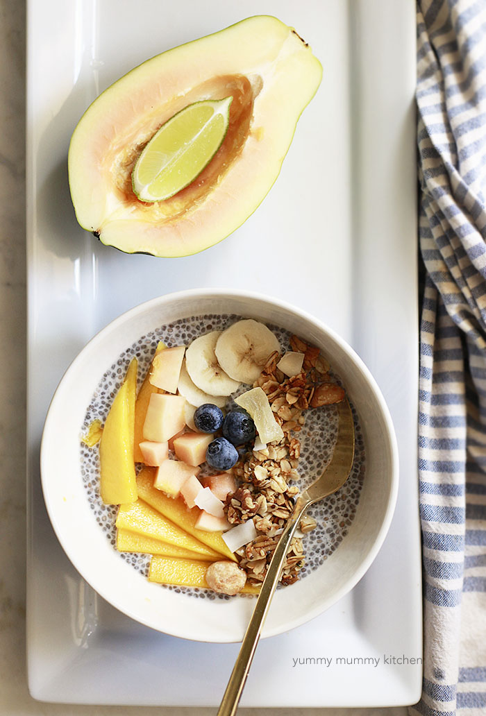 chia pudding bowl with fruit and granola