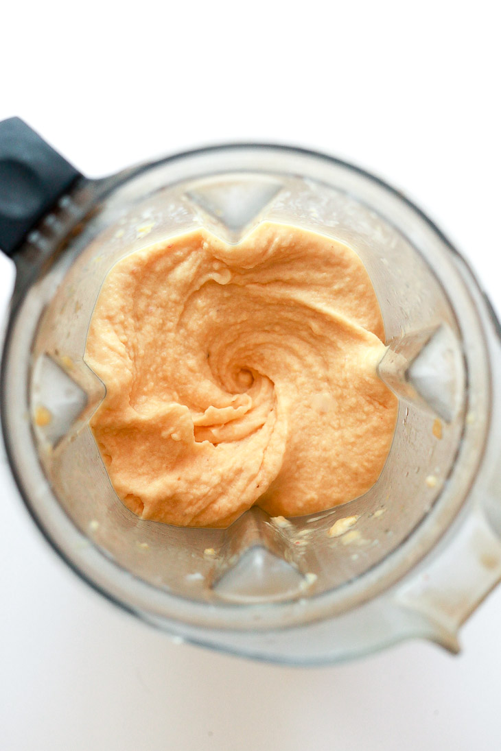 Thick and creamy peach smoothie in a Vitamix blender. The best creamy peach smoothie.