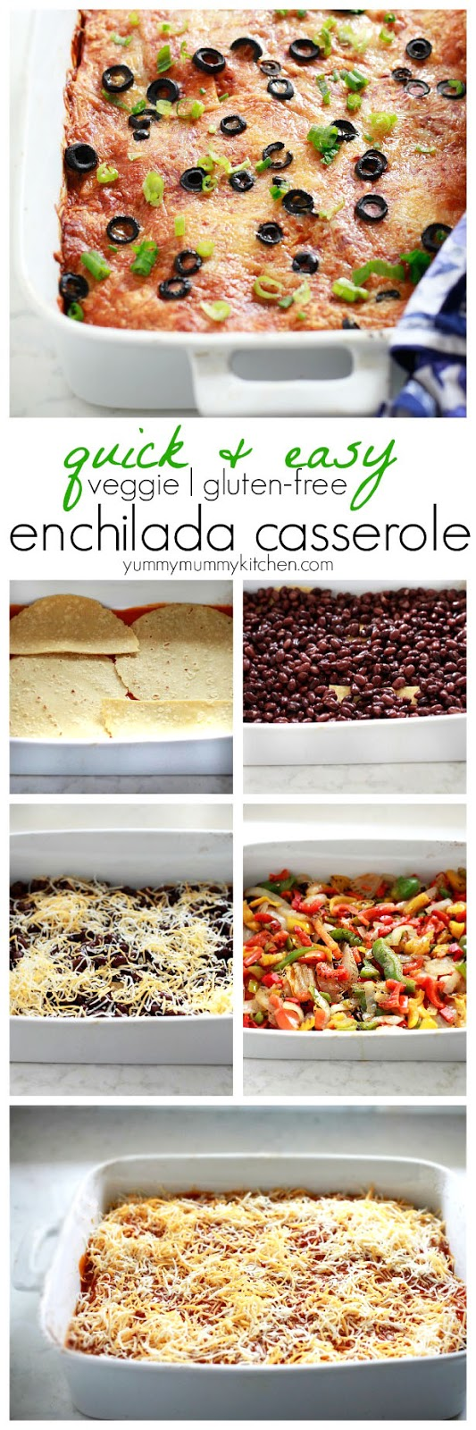 A collage of steps showing how to make an enchilada casserole. Layering beans, tortillas, peppers, and cheese.