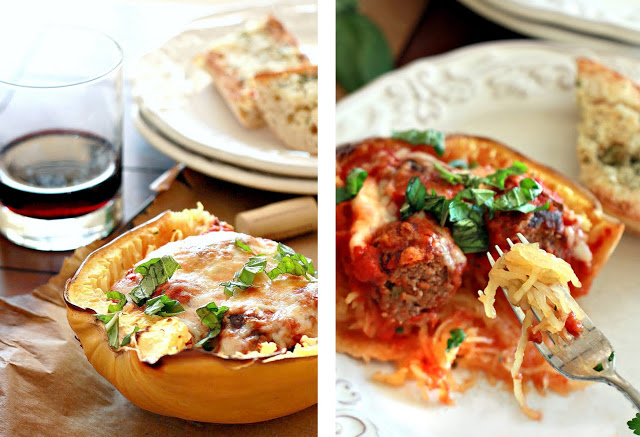 Baked spaghetti squash boats with marinara, meatballs, and cheese.
