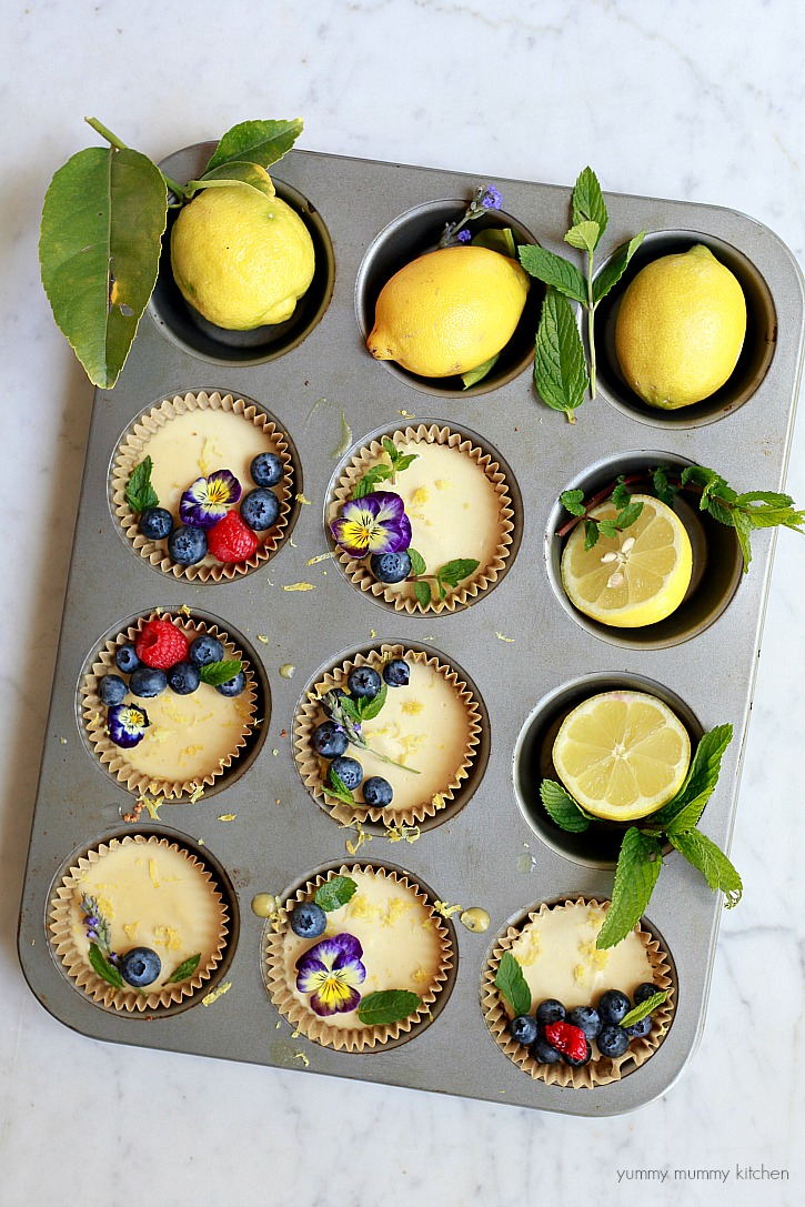 Mini lemon vegan cheesecake tarts are a delicious and beautiful dessert.