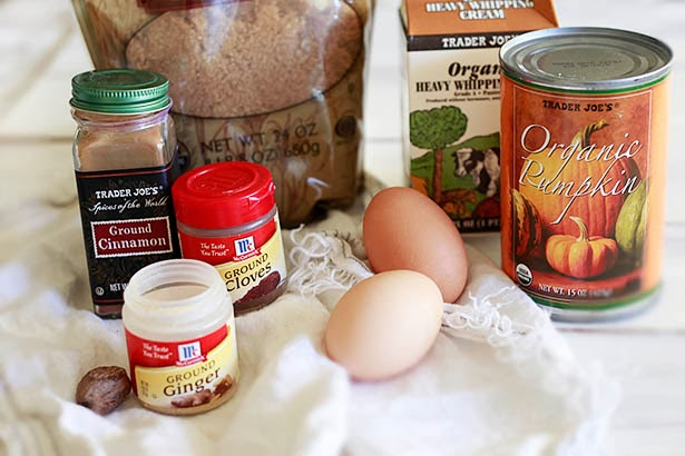 The ingredients for this pumpkin pie include fresh eggs, organic canned pumpkin, heavy cream, brown sugar, and spices.