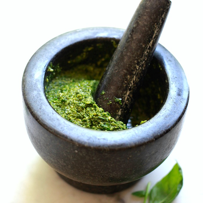 This pesto recipe can be made in a food processor or mortar and pestle.