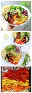 Vegan fajita quinoa bowls with peppers and onions, black beans, and veggies.