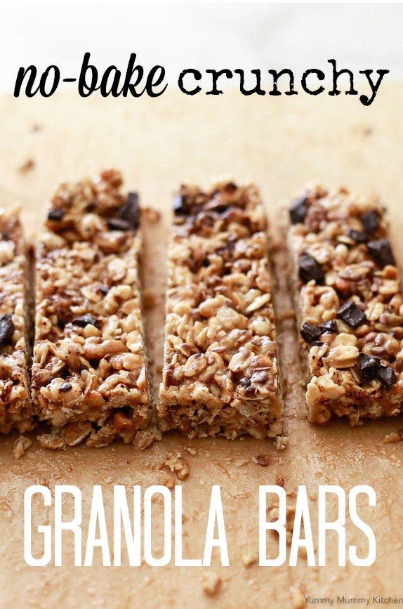 Easy no-bake crunchy peanut butter granola bars. These easy granola bars are made with pre-made granola and take just 5 minutes and 5 ingredients to make. This delicious snack is kid-friendly and easy to make vegan and gluten-free.