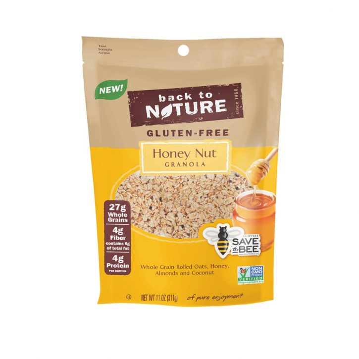 Bag of back to nature honey nut gluten free granola