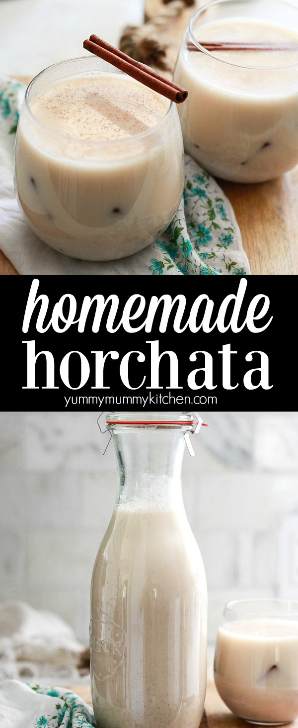 How to make horchata, a delicious Mexican drink made with rice, almond milk, and cinnamon. This easy horchata recipe is perfect for Cinco de Mayo or Taco Tuesday.