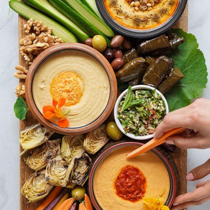 Mediterranean Hummus Mezze Platter