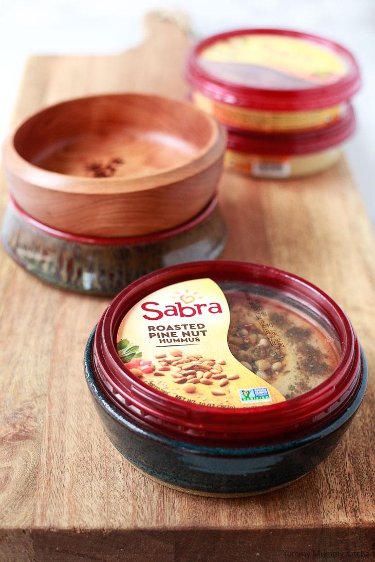 Sabra 10 oz. hummus tubs fit perfectly into handmade hummus bowls.