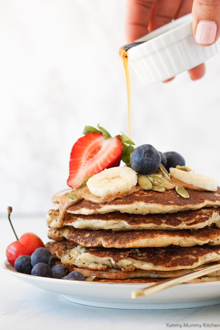 Easy one bowl banana pancakes are a delicious breakfast. These pancakes are dairy-free, eggless, vegan, and easy to make gluten-free, but you'd never know it based on how delicious these taste!