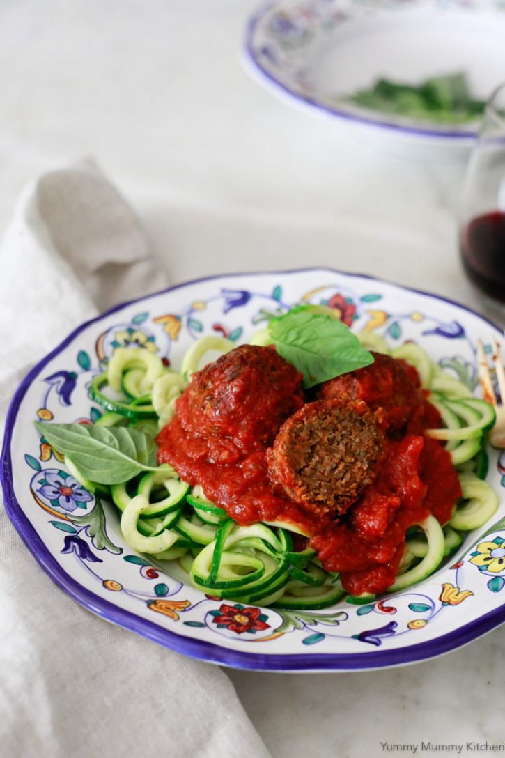 The inside of a vegan lentil meatball. These delicious vegan meatballs are made with lentils, mushrooms, and walnuts.