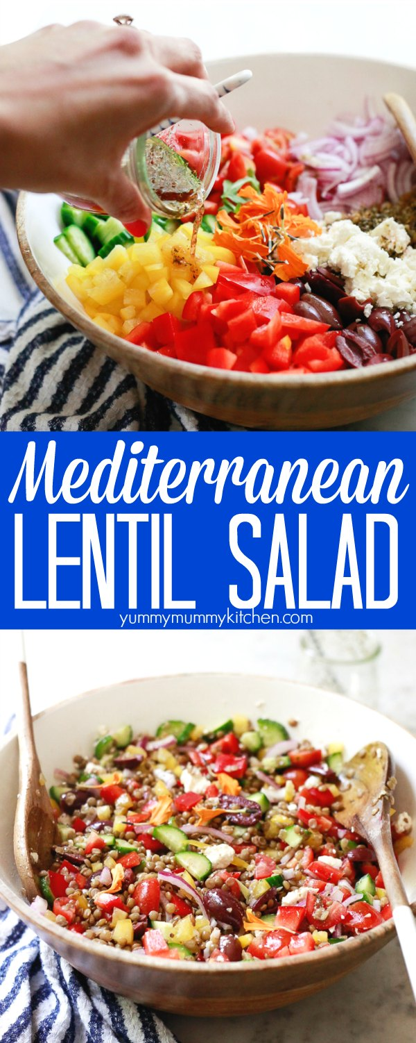 A delicious Mediterranean lentil salad made with cold green lentils, tomatoes, cucumber, olives, and a Greek style vinaigrette. This cold lentil salad is vegetarian or vegan and perfect for meal prep as a jar salad recipe.