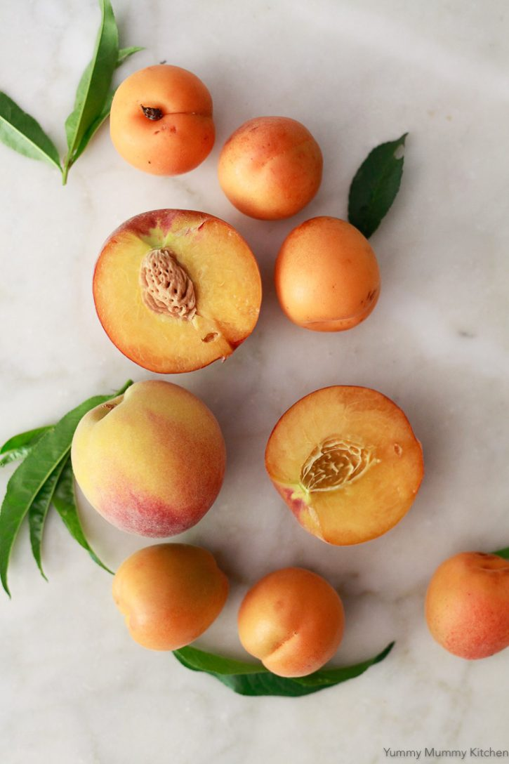 Fresh summer peaches and apricots on a white marble countertop.