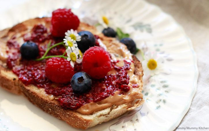 Chia jam recipe with berries and nut butter on toast.