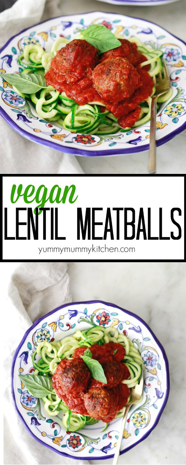 "Baked vegetarian and vegan ""meatballs"" made with lentils and mushrooms are packed with traditional Italian flavors. These meatless meatballs are perfect on top of zucchini noodles."