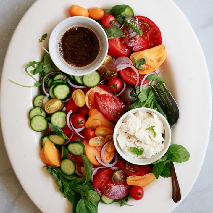 Cucumber Tomato Onion Salad with Balsamic Vinaigrette