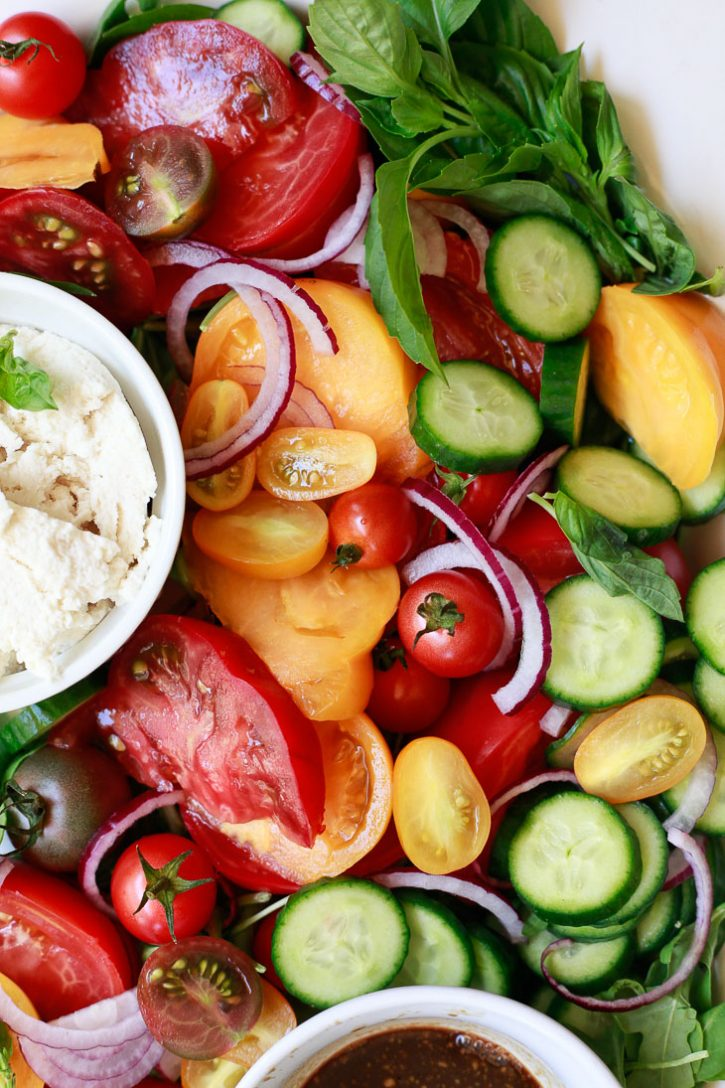 Beautiful Cucumber, Tomato, Onion Salad Recipe with balsamic.