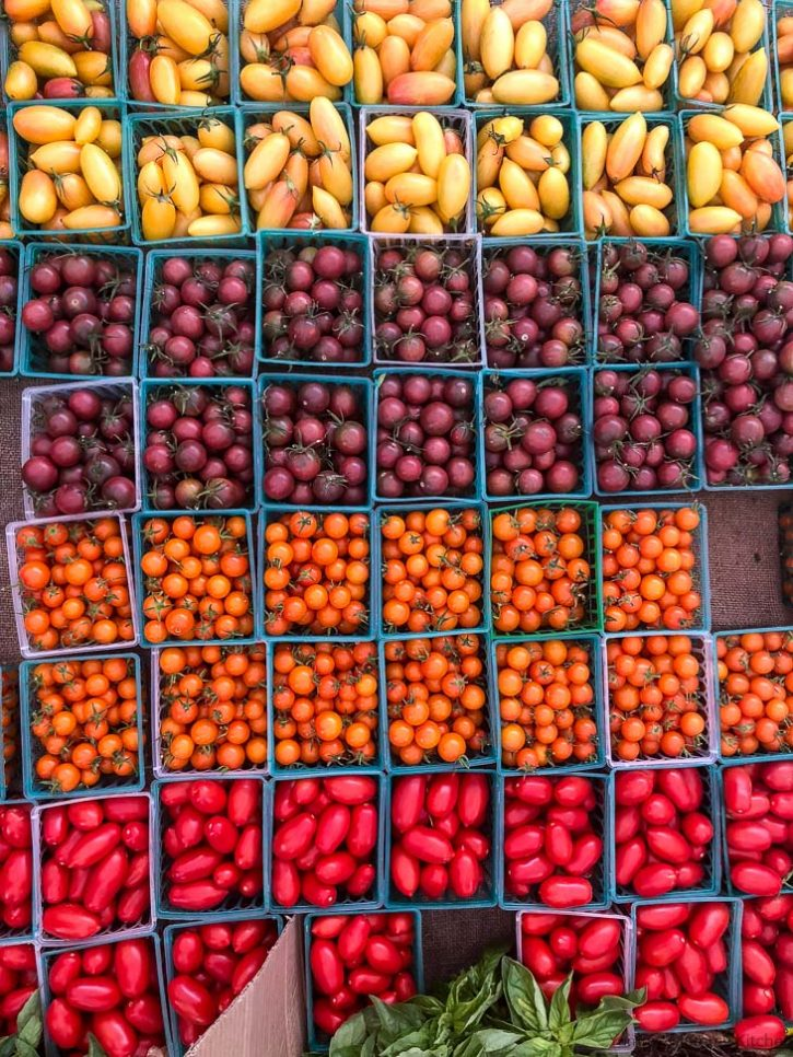 Colorful farmers market tomatoes