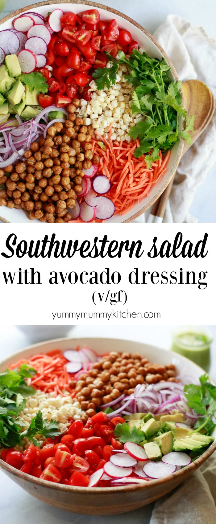 Southwest Salad recipe with avocado dressing, corn, roasted chickpeas, tomatoes, cilantro, and avocado is a delicious vegetarian, vegan, plant-based dinner salad.