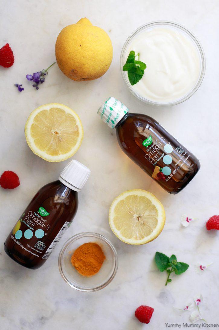 Nutravege Omega-3 supplement along with fresh lemons.