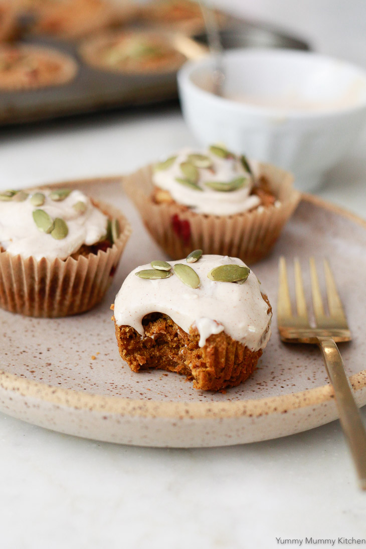 These delicious pumpkin muffins taste like fall! Made with oat flour, almond, and tapioca flour, they are gluten-free, dairy-free, and vegan.