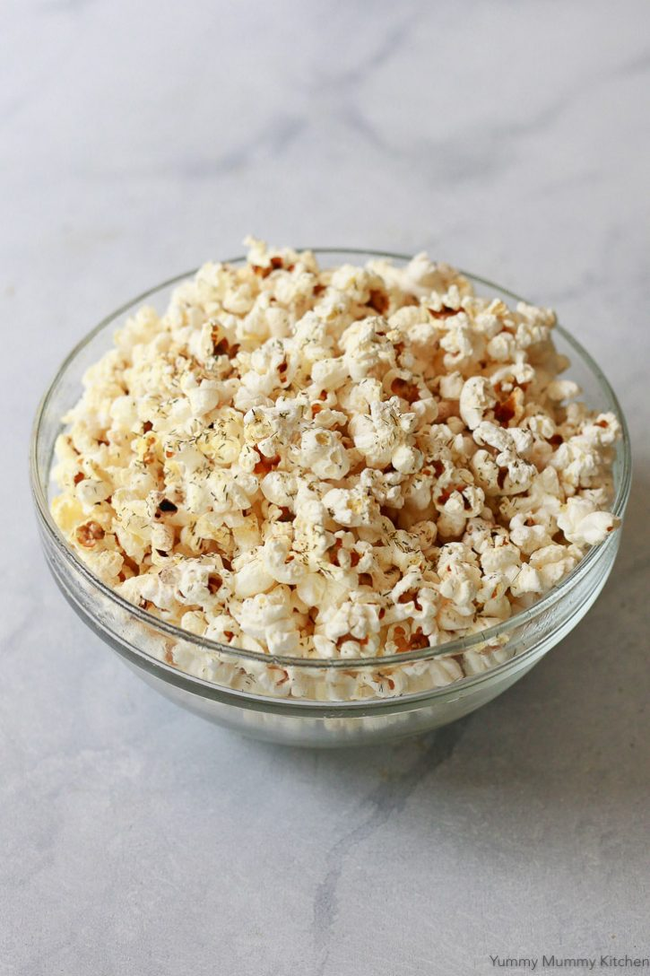 Homemade stovetop popcorn with dill pickle seasoning is a tasty snack.