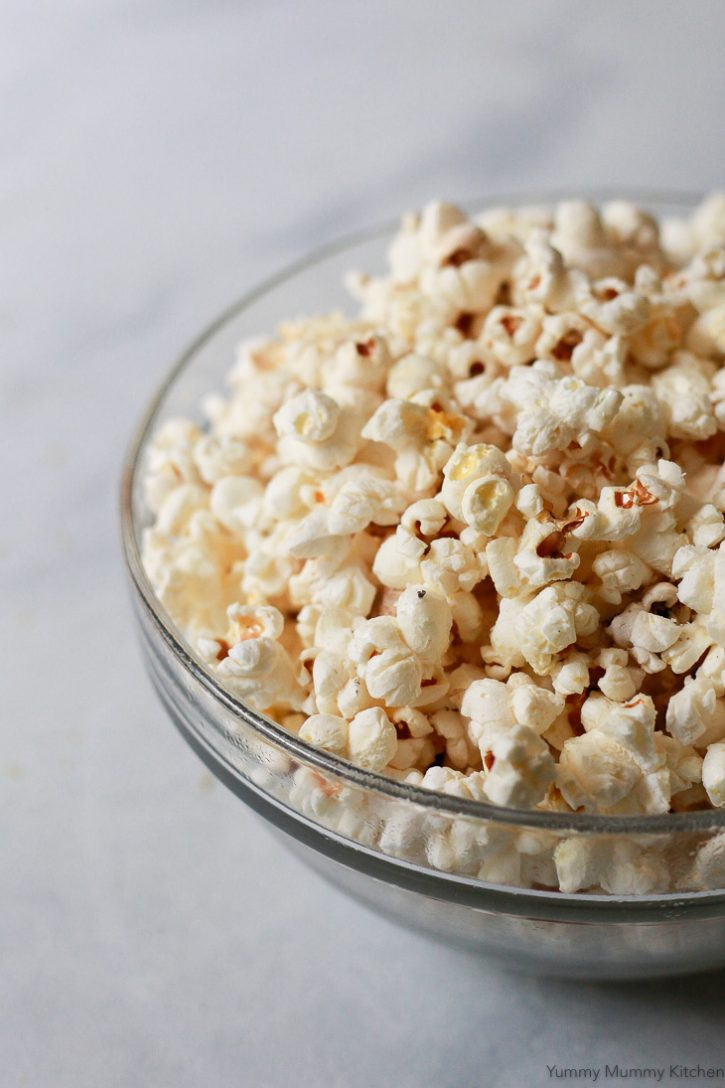 Homemade stovetop popcorn with truffle salt.
