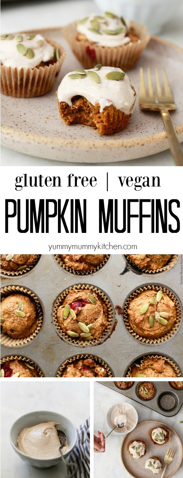 These amazing healthy pumpkin muffins are vegan and gluten-free! Made with a little coconut oil and maple syrup, they are low sugar and low fat.