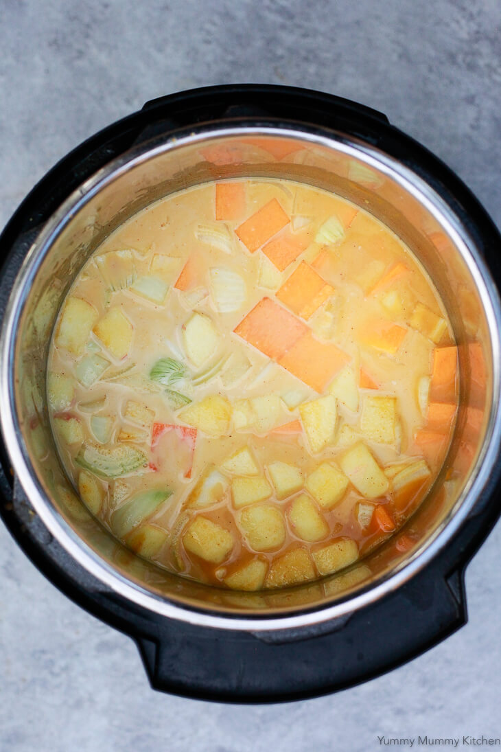 Vegetable broth and coconut milk are added to pumpkin, butternut squash, onion, apple and curry spices to make soup.