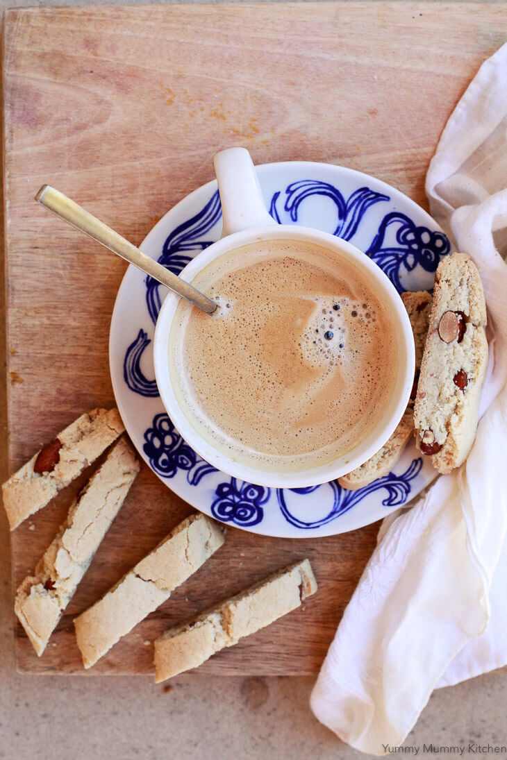 Coffee with almond flour cantucci or biscotti. This gluten free biscotti recipe is perfect for dunking in coffee!