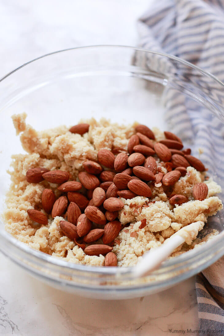 Whole almonds are added to almond flour biscotti dough in this gluten free biscotti recipe.