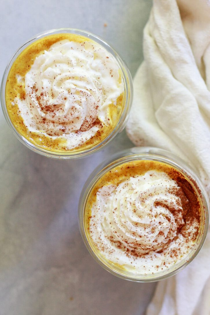 How to make vegan pumpkin spice lattes with turmeric golden milk.