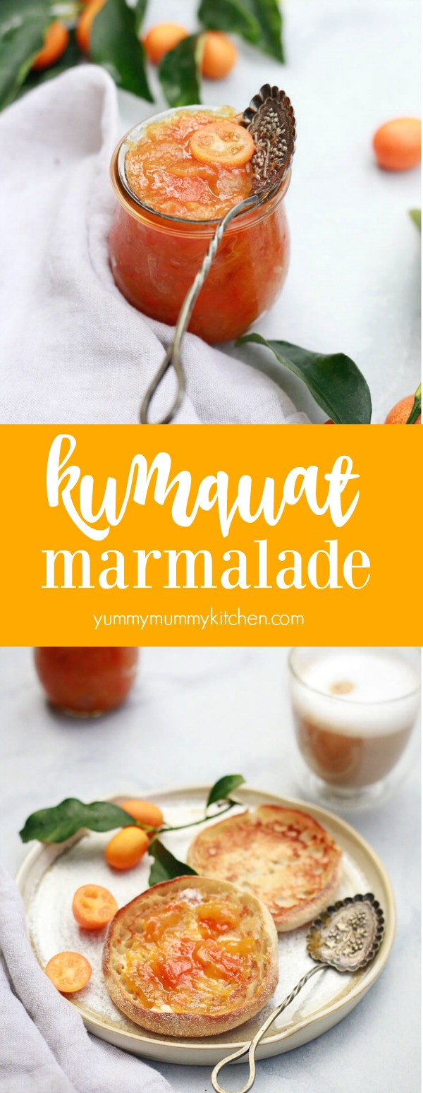 Easy kumquat marmalade recipe that's refined sugar free and lightly sweetened with honey or agave and spiced with cinnamon. Homemade kumquat marmalade is delicious with breakfast, a great way to use fresh kumquats, and a nice DIY holiday gift.