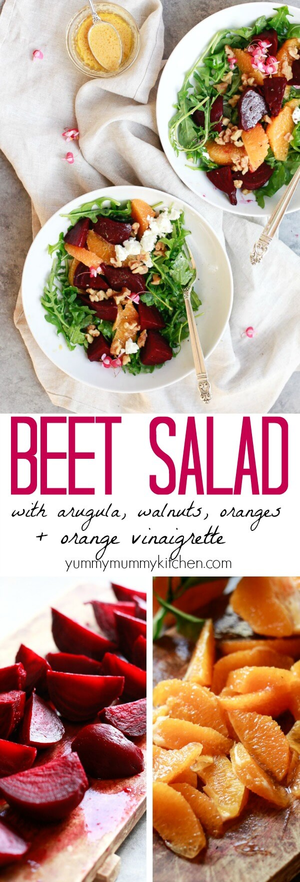 The best beet salad recipe! Winter salad of roasted or pressure cooked Instant Pot beets, arugula, orange segments, walnuts, and goat cheese with homemade beet salad dressing. This delicious winter salad is perfect for Thanksgiving, Christmas, or winter lunch meal prep. #vegetarian #vegan #glutenfree