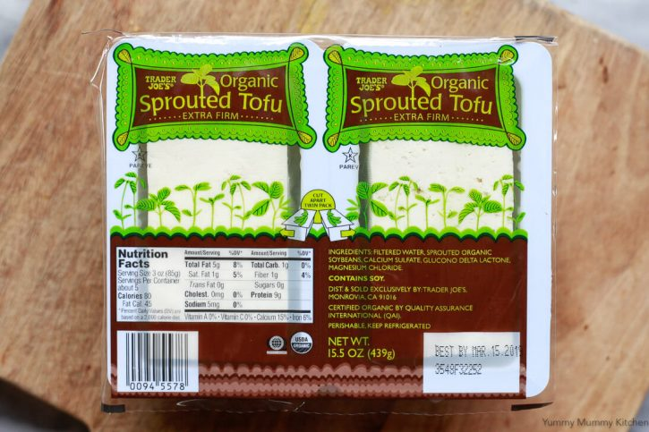 A package of Trader Joe's organic sprouted extra firm tofu is perfect for making baked tofu.