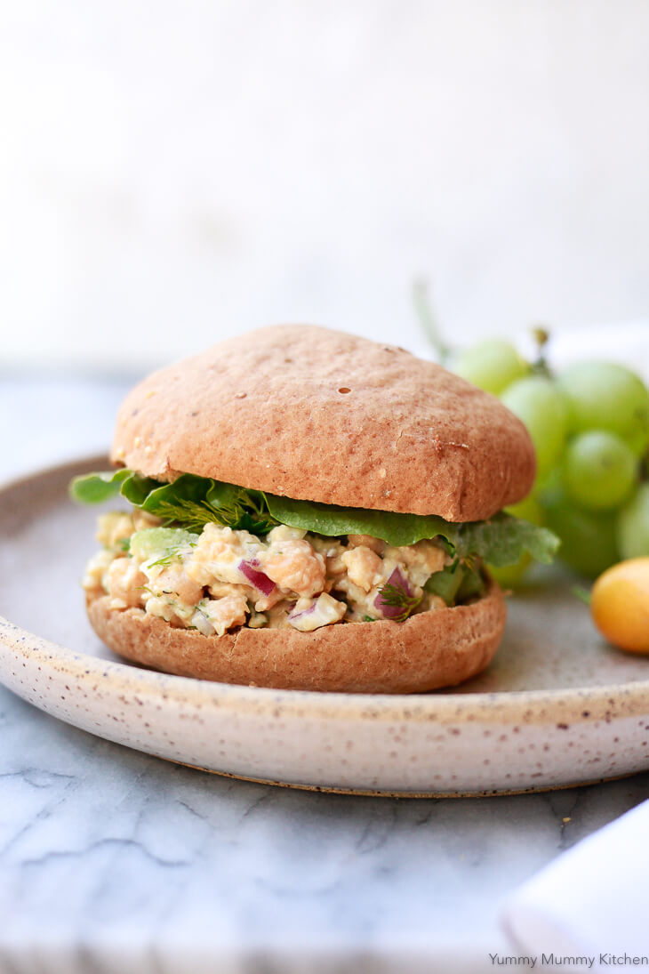 This chickpea salad sandwich is just like a (vegan) chicken salad sandwich, but better! It's plant-based and gluten-free.