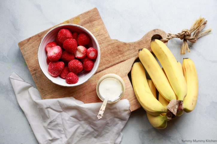 Simple Strawberry Banana Smoothie With Yogurt Or Almond Milk