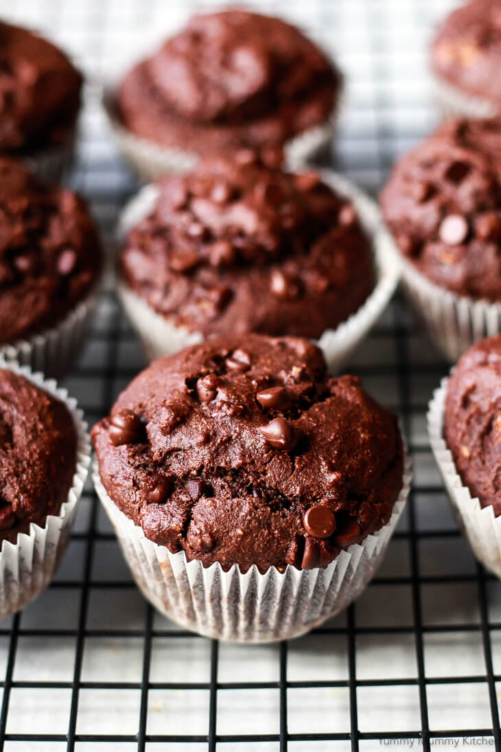 Delicious chocolate banana muffins made with healthier ingredients like oat and almond flour are eggless, vegan and gluten free!