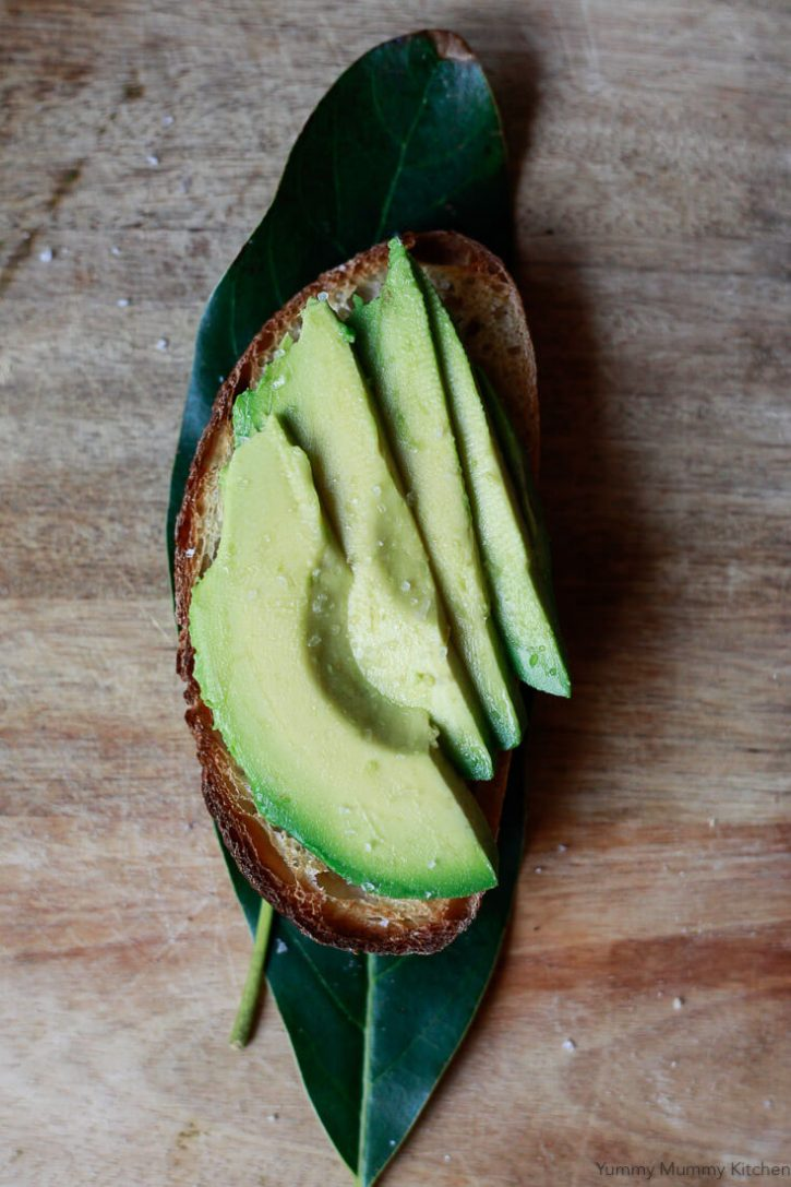 One piece of simple avocado toast topped with sea salt sits on an avocado leaf.
