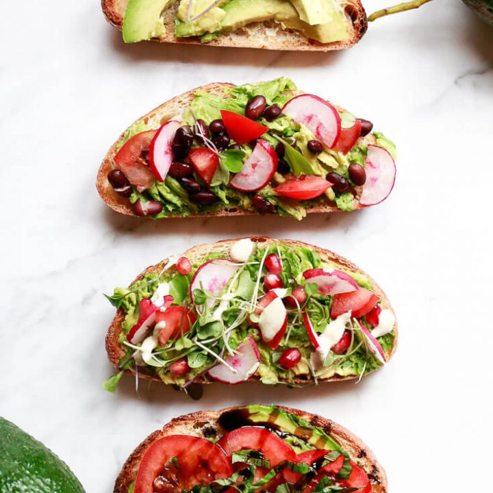 Avocado toast 4 ways shown from top to bottom: Simple Avocado Toast, Southwestern, Tahini, and Italian style.