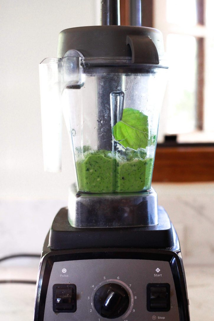 Avocado Green Goddess Dressing blends in a Vitamix blender.
