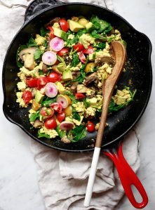 Tofu scramble recipe in a cast iron skillet.