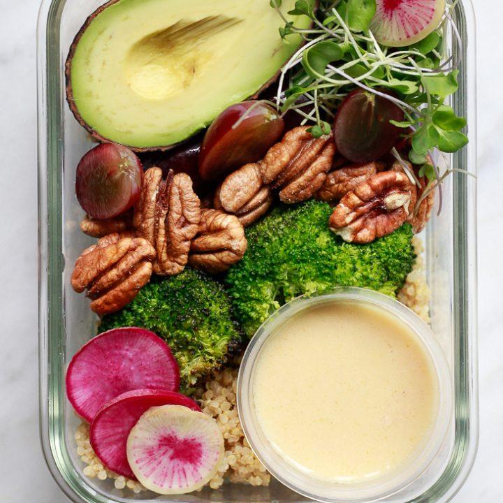 Vegan Meal Prep Bowls with Broccoli, Grapes, Pecans and Quinoa