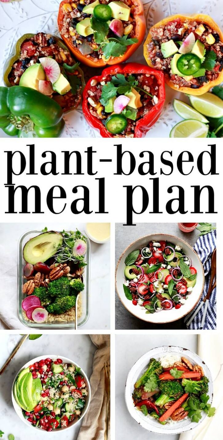 Vegan weekly meal plan with 5 dinner recipes. Stuffed peppers, meal prep bowls, strawberry salad, tabbouleh, and stir fry are shown in a collage.