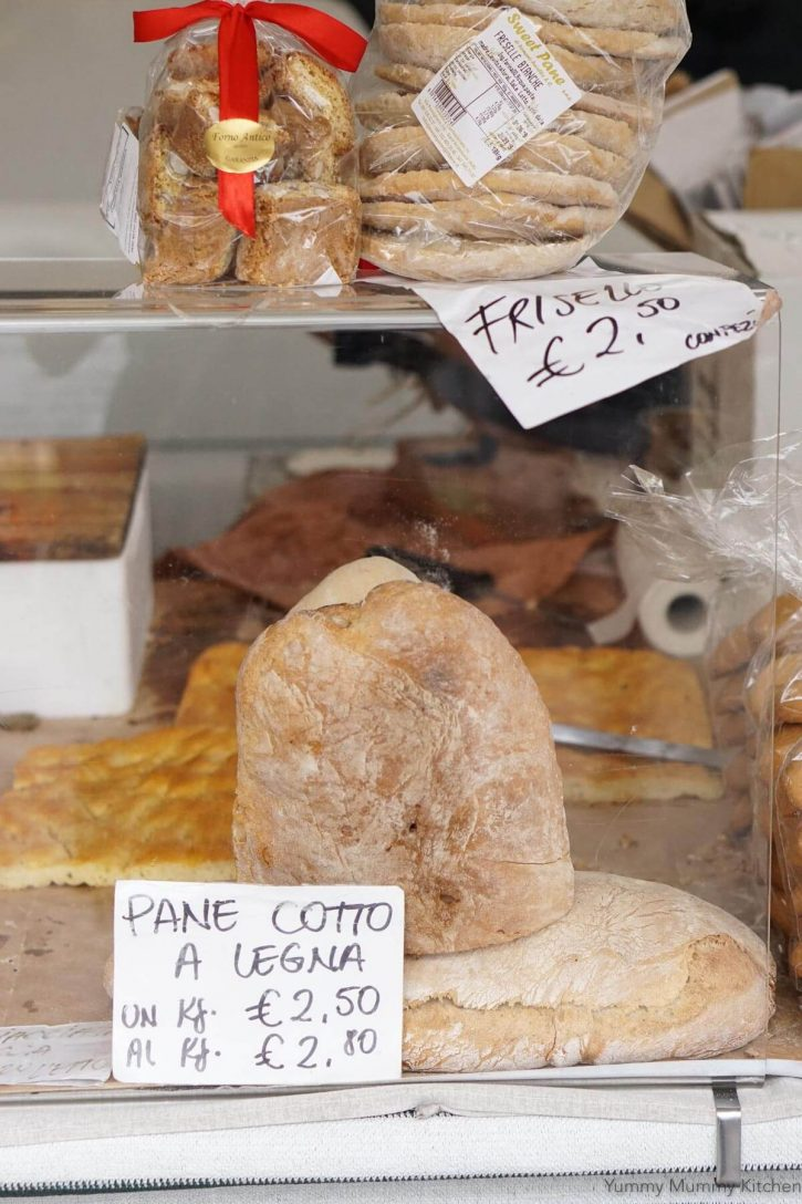 Bread and biscotti sold at a farmer's market in Tuscany Italy.