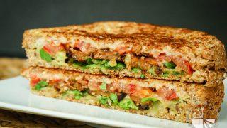 Crispy Tempeh Arugula Sandwich with Roasted Garlic Truffle Aioli