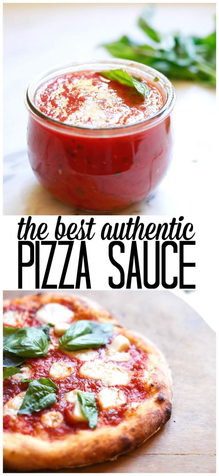 How to make the best easy pizza sauce at home from scratch. This homemade pizza sauce recipe is made with tomatoes and fresh basil.