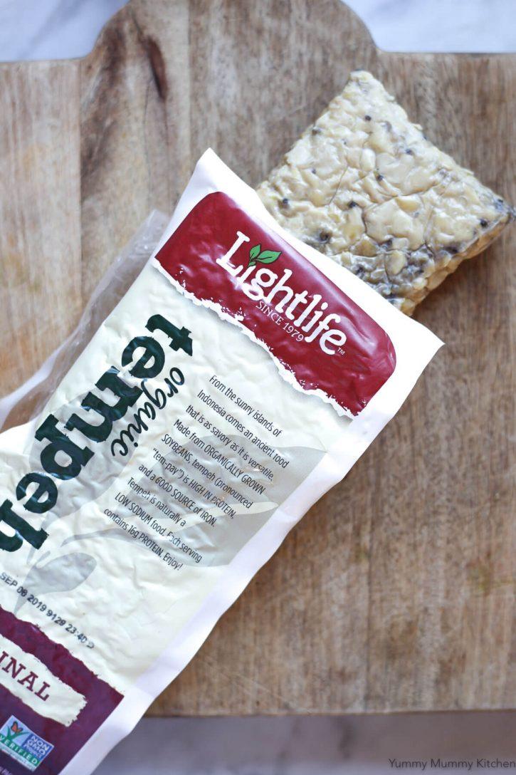 A package of organic Lightlife tempeh for using in vegetarian or vegan recipes.